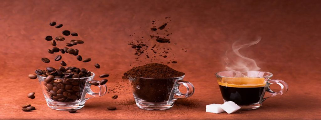 coffee-glass-cups-filled-with-home-roasted-coffee-beans-ground-coffee-and-steaming-expresso